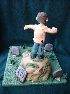 Zombie Graveyard Cake Back View