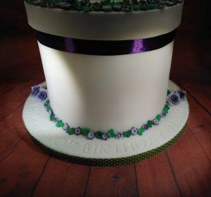 Lilac Flowers and Leaves Gazebo Cake