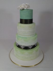 Green and Turquoise 4 Tier Cake with Peony and Lace