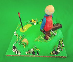 Golf Cake with Man on Golfing Course Sideview