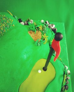 Golf Cake with Green and Bunker and Rough Terrain
