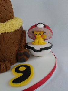 Eevee Cake with Pikachu in a Pokeball