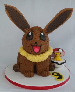 Eevee Cake with Pikachu in a Marshmallow Filled Pokeball