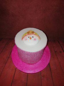 Pink Snowman Cake