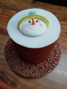 Brown Snowman Cake