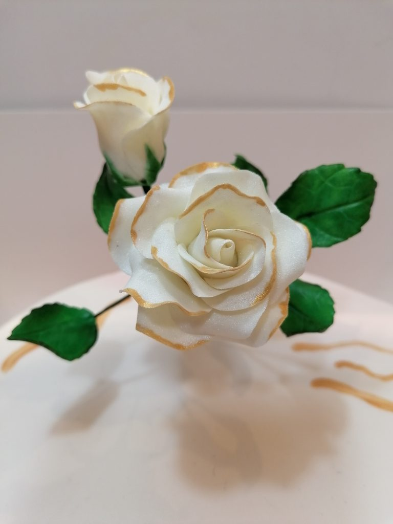 White Rose and Bud with Leaves