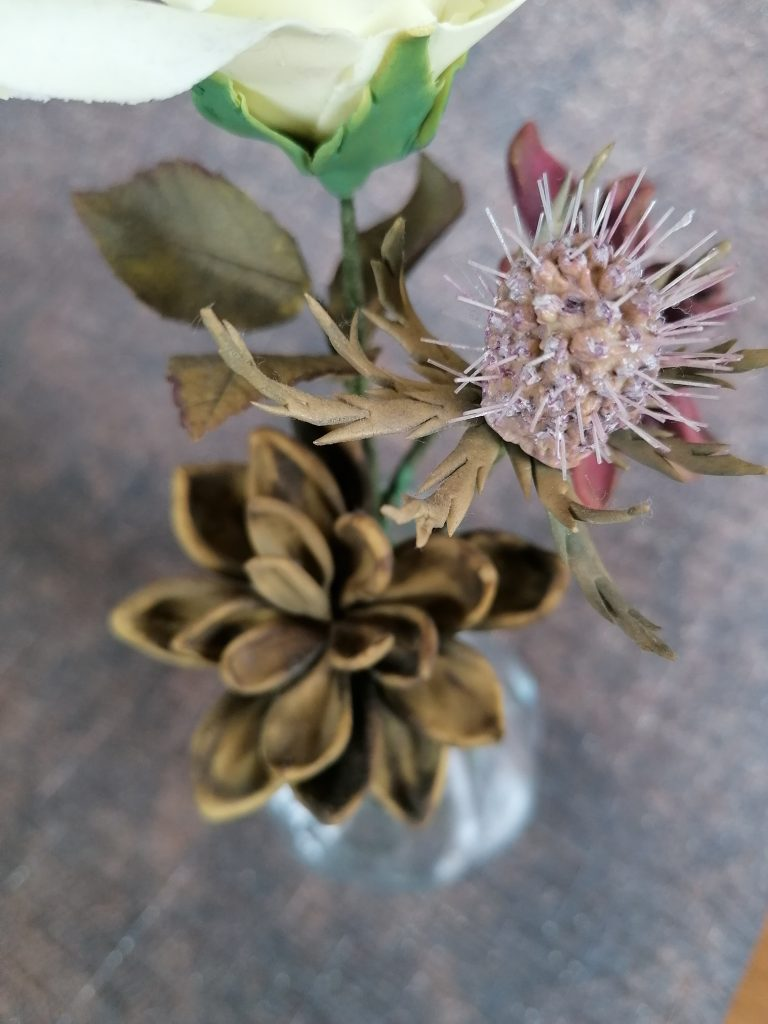 Sea Holly and Green Succulent